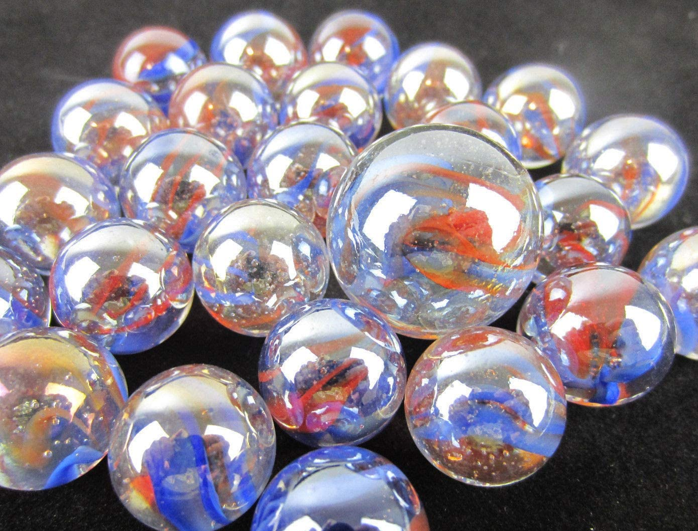 Big Game Toys~25 Glass Marbles Sunrise Iridescent Clear//Blue//red Swirl Classic Style Game Pack Decor//Vase Filler//Aquarium 24 Player, 1 Shooter