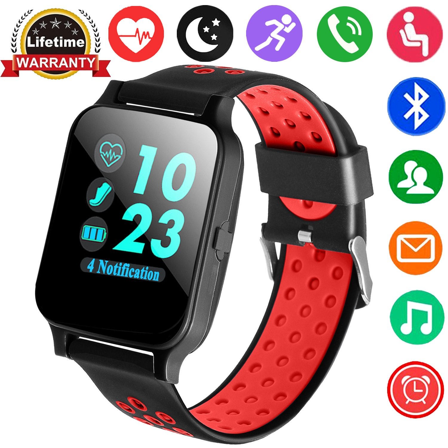 GBD Smart Watch for Men Women Kids Boys Girls Sport Activity Fitness Tracker with Heart Rate Blood Pressure Health Monitor Pedometer Calorie Wrist Watch Compatible with iOS Android Smartphone