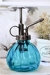 "Ebristar Plant Mister, 6.5"" Tall Vintage Style Decorative Glass Water Spray Bottle with Top Pump Small Watering Can (Blue)"