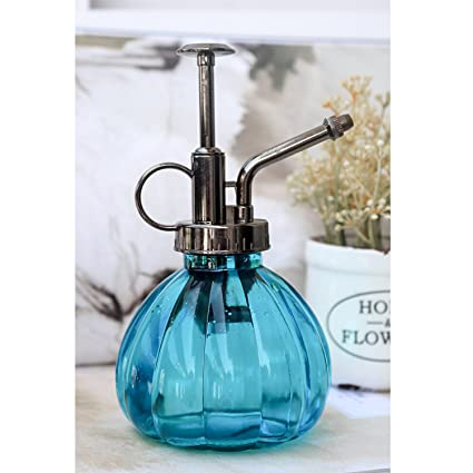 Ebristar Plant Mister 6 5 Tall Vintage Style Decorative Glass Water Spray Bottle With Top Pump Small Watering Can Blue