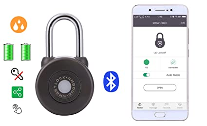 Smart Padlock Keyless bluetooth lcok-Anboud brand with No phone unlock  Waterproof Emergency power supply port