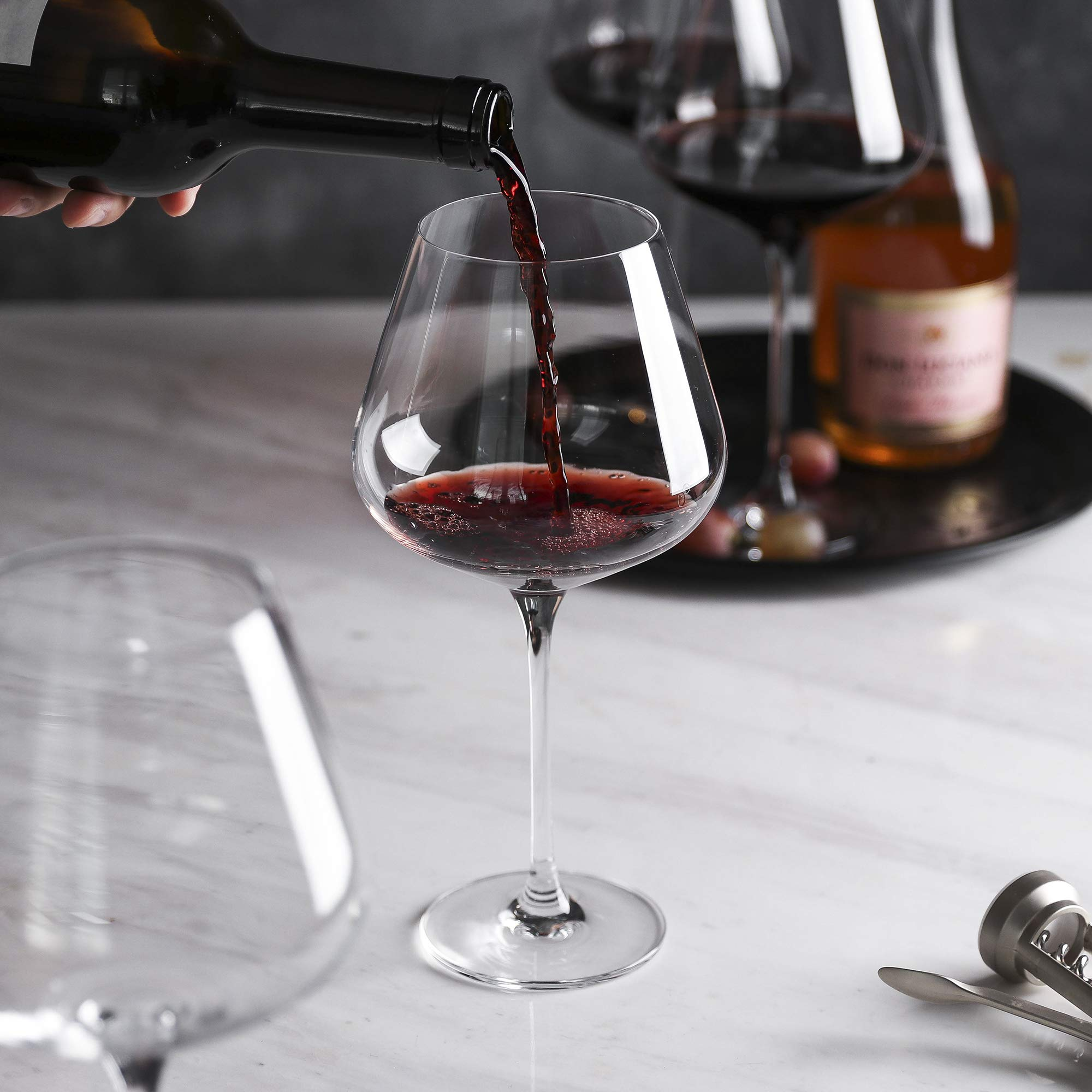 Red Wine Glasses - Crystal Glass - Lead Free - Wine Glasses Set of 4 (29 Ounce) by WH Housewares (Image #5)