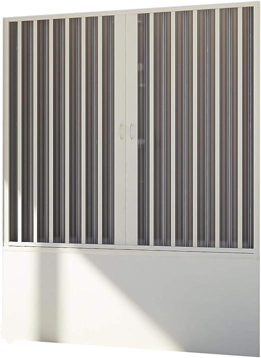 Forte BR221001 Mampara de bañera de puerta reducible, apertura central, blanco, 140-170, altura de 150 cm: Amazon.es: Bricolaje y herramientas