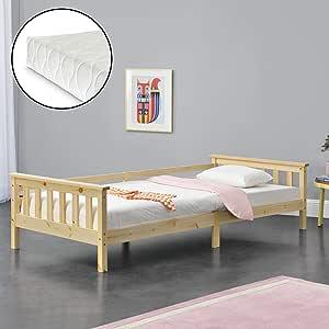 [en.casa] Cama para niños Nuuk de Pino 90 x 200cm con Colchón y Somier con área de Almacenamiento Protección contra caídas Textil de Confianza ...