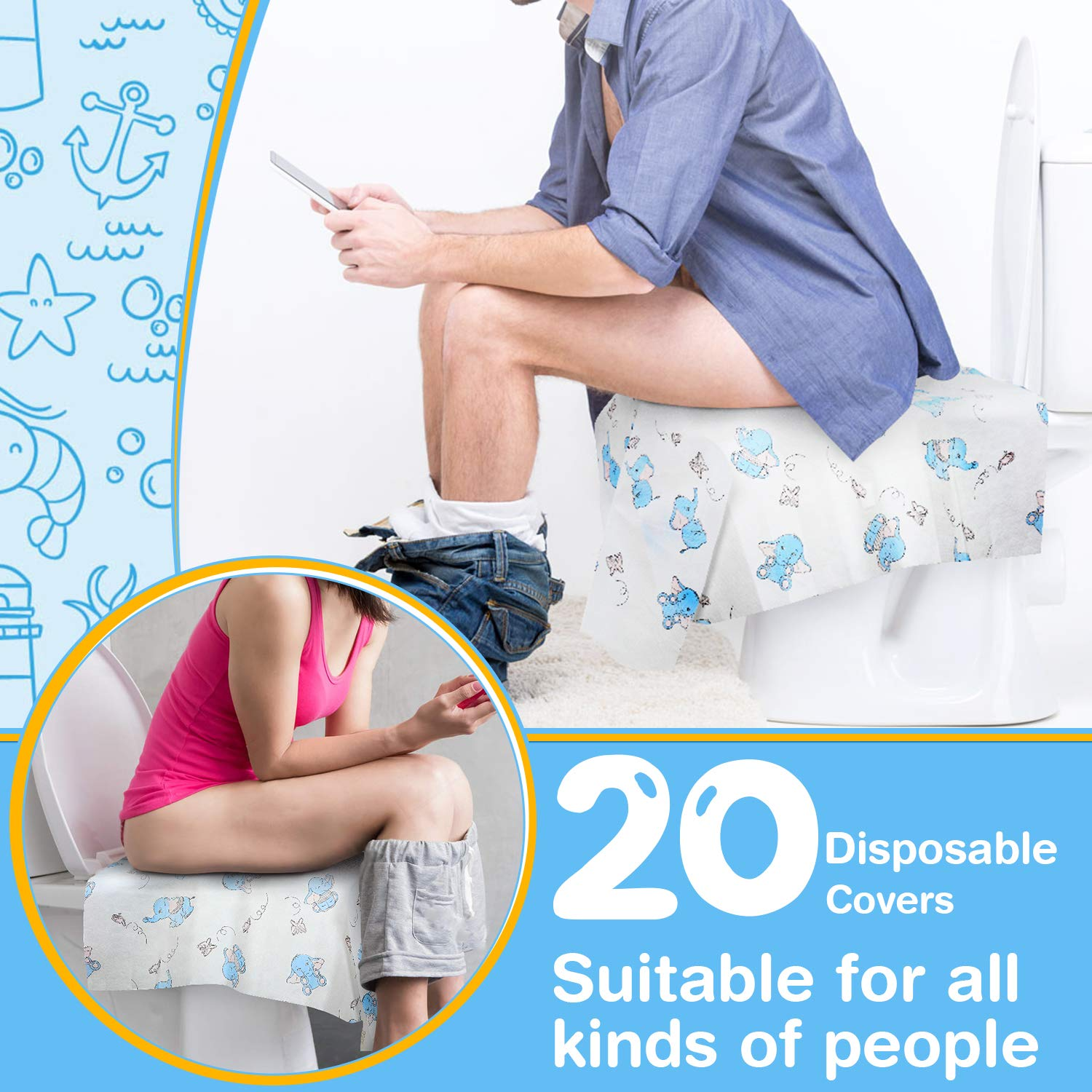 Disposable Toilet Seat Covers Extra Large 20 Packs Perfect for Adults and Kids Potty Training with Individually Wrapped Home Travel Use New Wave