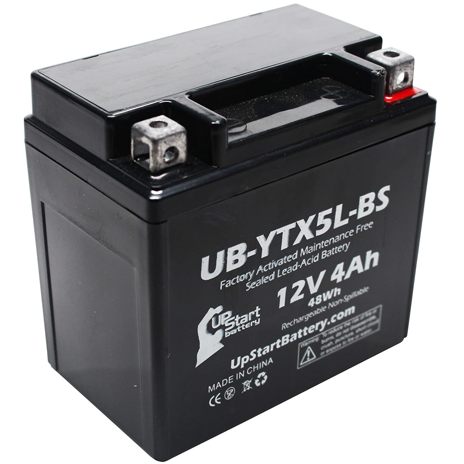 Replacement 1988 Suzuki LT80 QuadSport 80 80CC Factory Activated, Maintenance Free, ATV Battery - 12V, 4Ah, UB-YTX5L-BS Upstart Battery UB-YTX5L-BS-DL101