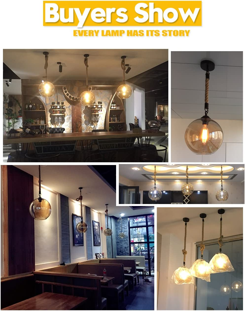 iYoee Industrial Glass Globe Pendant Light Fixture - Industrial Style Globe Glass Lampshade Hanging Fixture Lighting with Adjustable Cord Length for Kitchen Island Lights, use E26 Edison Bulb - -