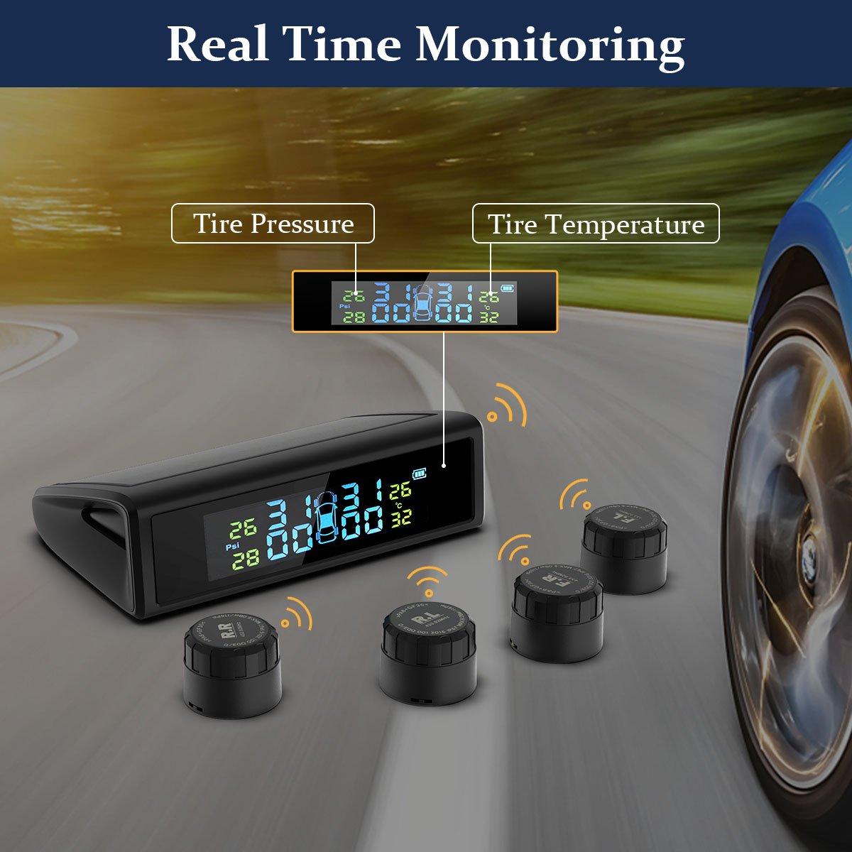 HiGoing Solar Monitor de Presi/ón Neum/áticos de Coche SUV Man/ómetro de Neum/áticos con 4 Sensores Camione LCD Pantalla que Muestra Presi/ón y Temperatura Exactas de Ruedas para Coche M/ás Furgoneta