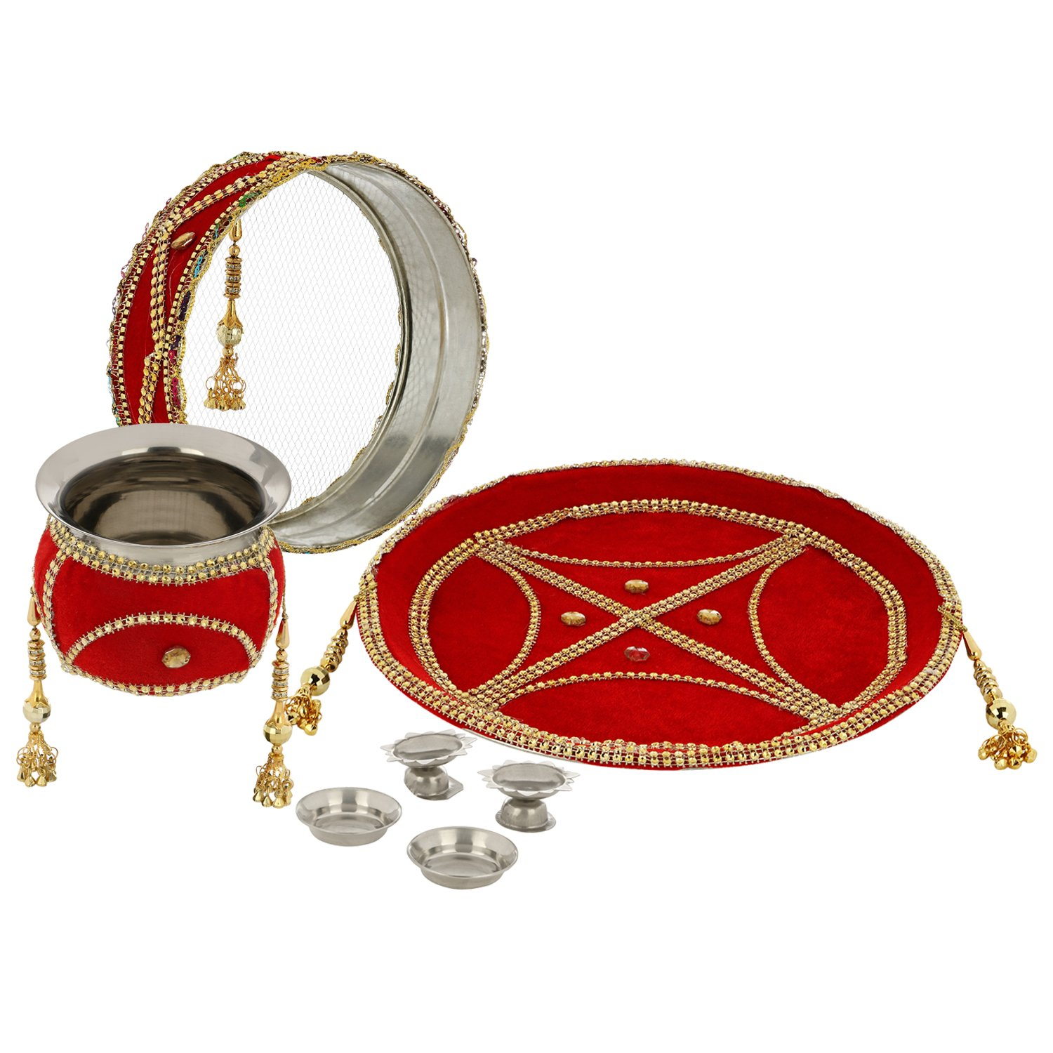 Buy Agastya Set Of 7 Red Golden Stainless Steel Pooja Thali Set 1 Pooja Plate 1 Lota 1 Channi 2 Dhoop Batti Stand 2 Katori Online At Low Prices In India Amazon In