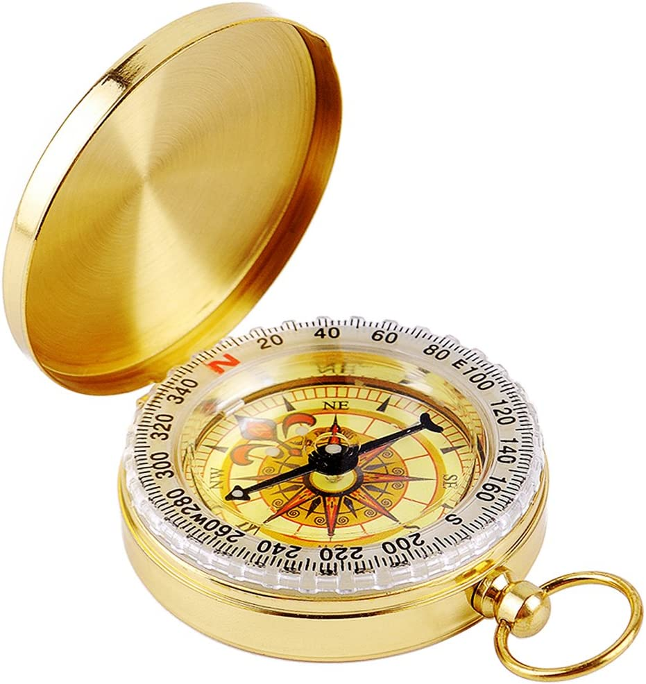 DLAND BR¨²jula Militar BR¨²jula en la Oscuridad, Reloj de Bolsillo Port¨¢Til Flip-Open Compass Impermeable para Camping, Senderismo y Otras Actividades al Aire Libre. (Dorado)