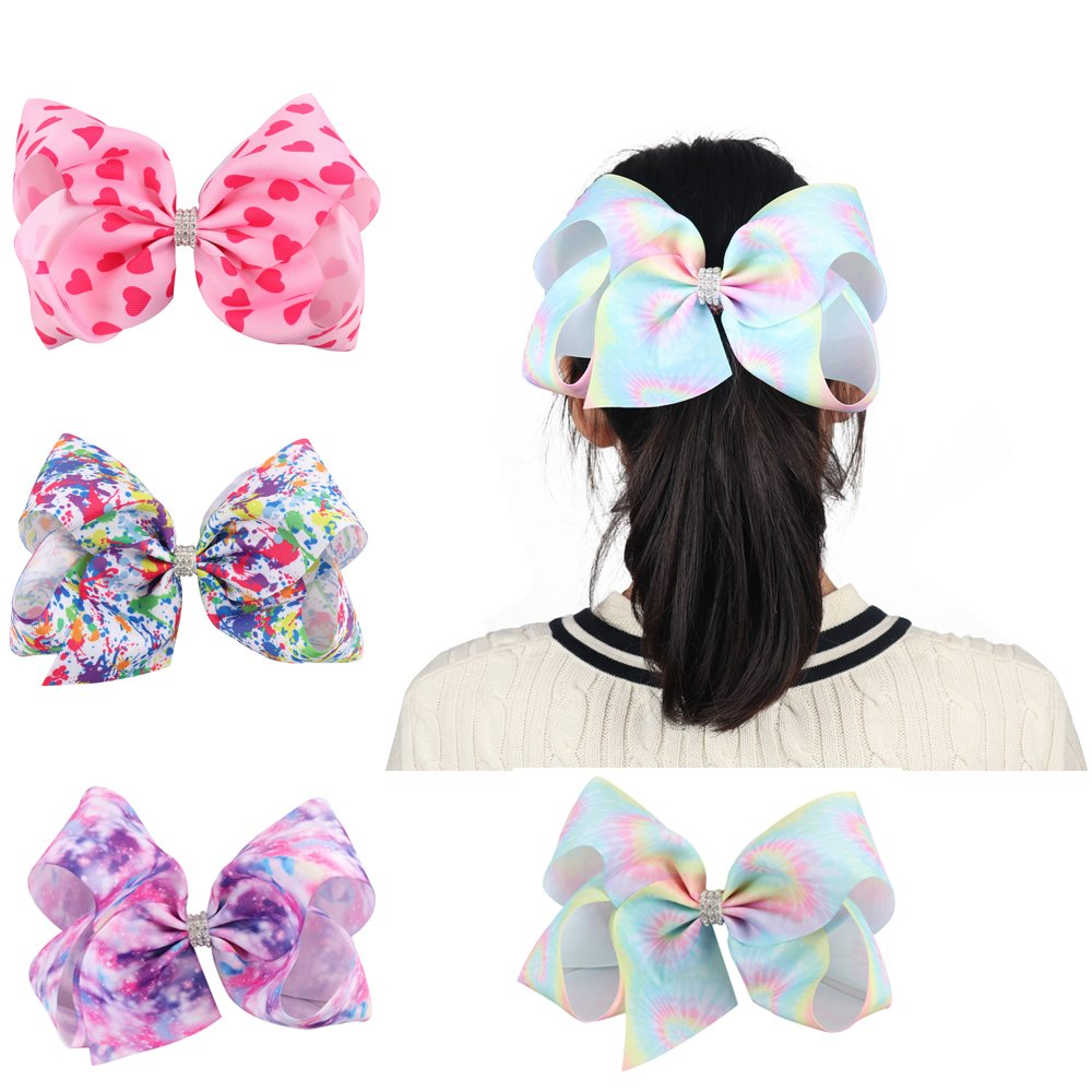 Oaoleer 7 inch Unicorn Cheer Bows Girls Hair Bows With Elastic Band for Cheerleader Girls Pack of 4 XMC515