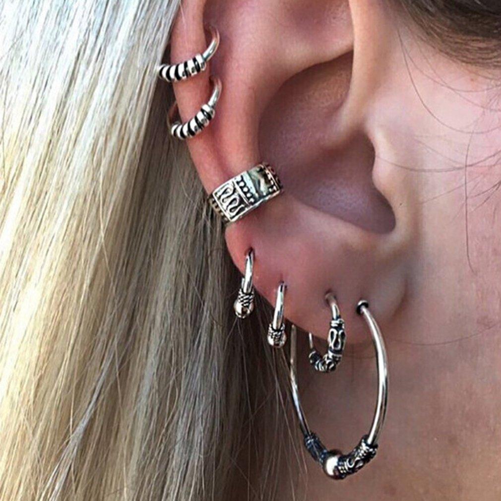Dolland Fashion Punk Tassel Dangle Ear Cuff Bohemian Sun Moon Wrap Tassel Earrings Clip for Women,Ancient Silver 1