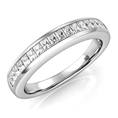 4MM Sterling Silver Baguette CZ Half Eternity Cubic Zirconia Ring EHHPO3h