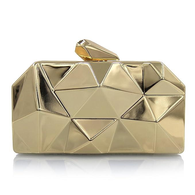 Flada - Cartera simple de metal tipo caja de hierro en forma de diamante de oro.