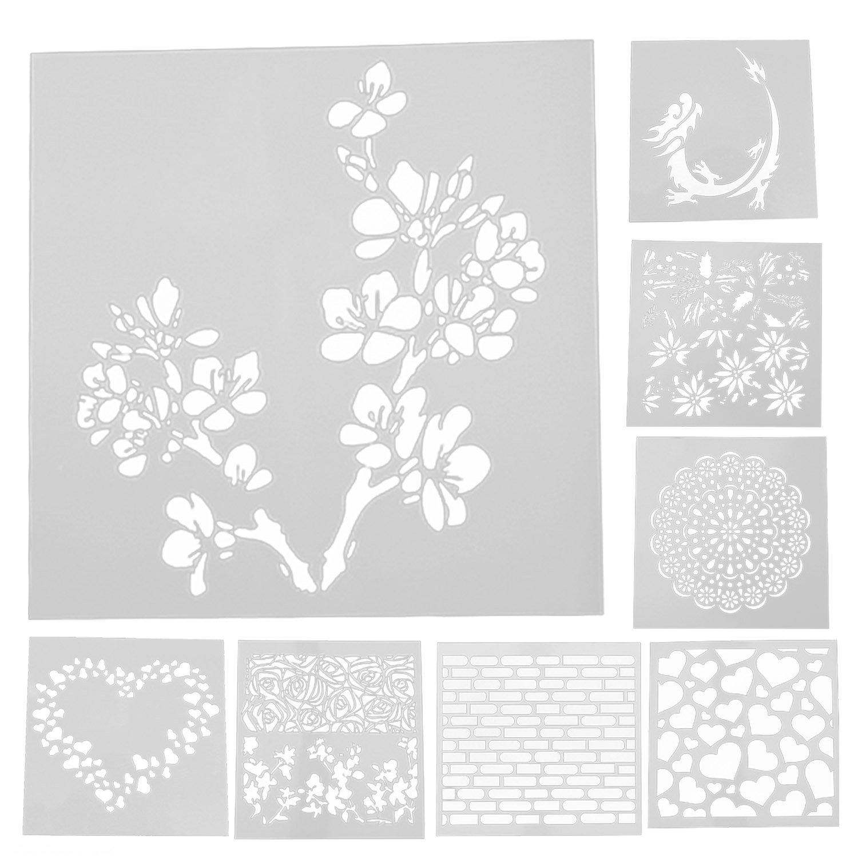 Stencil, Migavan 8pcs riutilizzabili modelli di stencil cava set per diy torta del fondente decorazione di lato craft scrapbooking album torta stile casuale misto