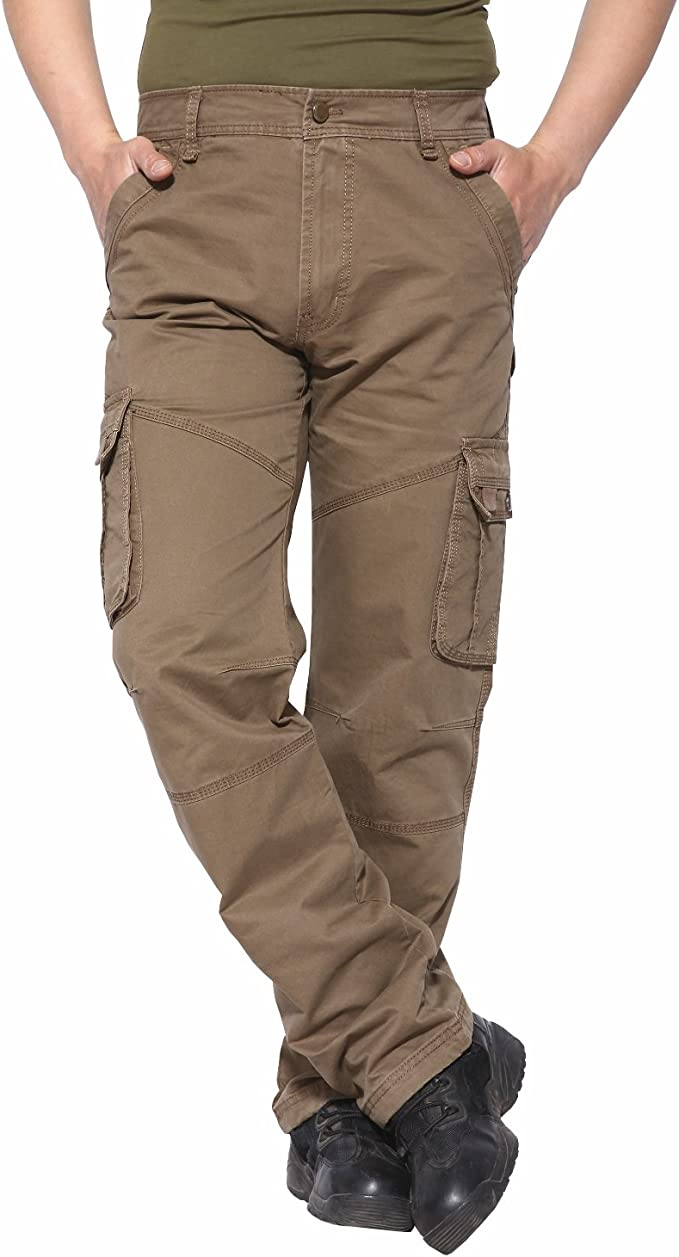 SELX Men Solid Cargo Pants with Multi-Pocket Military Style Pants