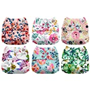 Mama Koala One Size Baby Washable Reusable Pocket Cloth Diapers, 6 Pack with 6 One Size Microfiber Inserts (Bloomin' Lovely)