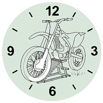 """Cristal Reloj """"Moto de dibujo de Negro de motos de velocidad de deportes"""
