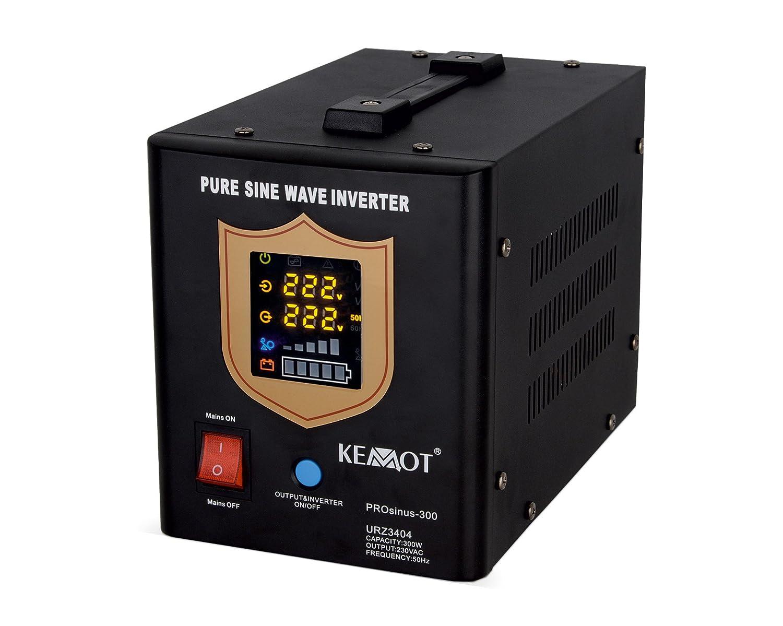 Notstromversorgung KEMOT PROsinus-300 URZ3404B Wechselrichter reiner Sinus Ladefunktion  12V 230V 500VA//300W schwarz