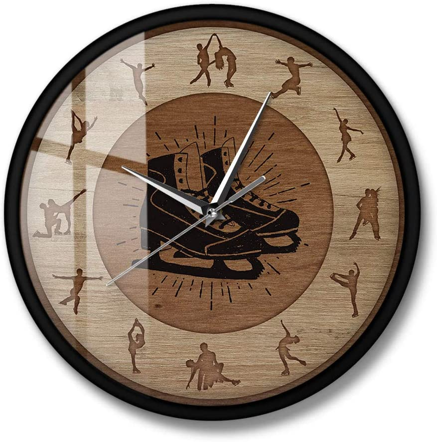 The Geeky Days Figure Skating Wood Texture Metal Frame Silent Quartz Wall Clock Girls Room Hanging Wall Watch Winter Sport Home Decor Ice Skaters Gift