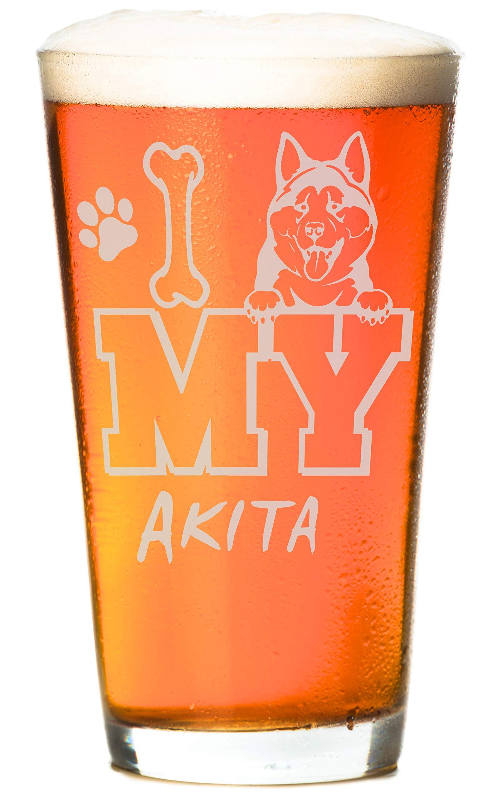 I Love My Golden 16 oz Beer Retriever Pint Glass (1 Glass) 1