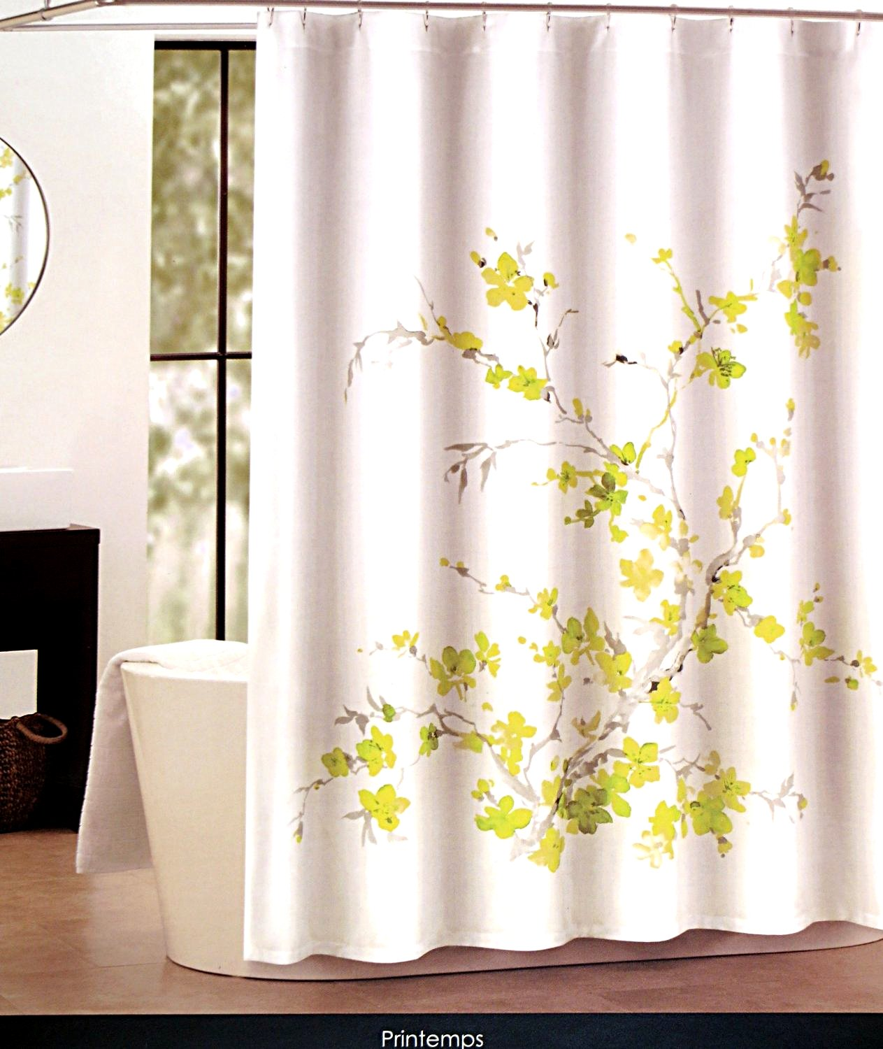 Amazon.com: Tahari Luxury Cotton Blend Shower Curtain Printemps ...