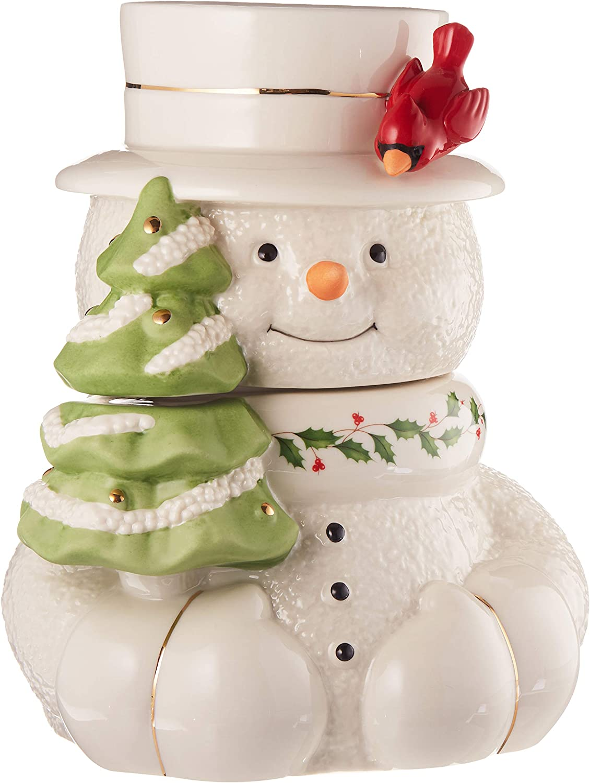 Amazon Com Lenox Happy Holly Days Snowman Cookie Jar Kitchen Dining