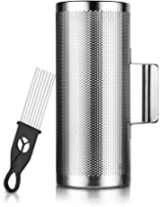 """Guiro Shaker Metal Stainless Steel with Scraper Percussion Instrument (12""""x 5""""),By Vangoa"""