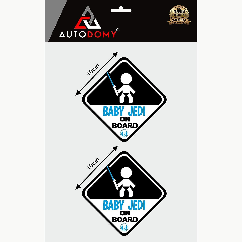 Autodomy Autocollants Baby Jedi Enfant Star Wars Baby on Board B/éb/é /à Bord Baby in Car Pack de 2 unit/és pour Voiture Usage Externe