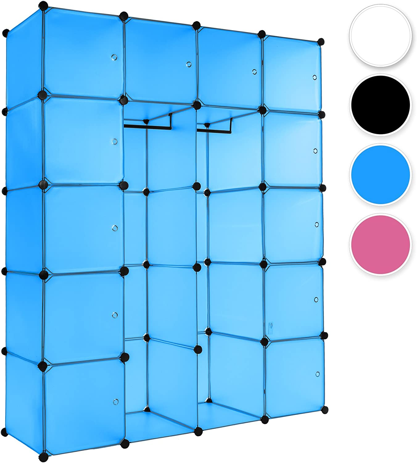 TecTake Plastic shelf storage wardrobe rack organiser cube shelving system stand with clothes rail (Blue | No. 402088)