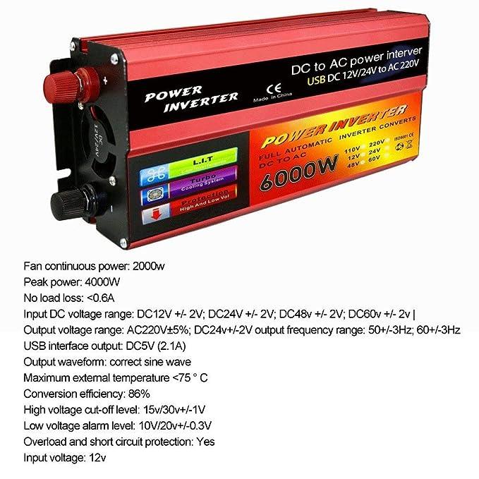 KDDD Auto 6000W Car Power Inverter Sine Wave DC12V a AC220V con Puerto USB Convertidor Cargador Productos de Calidad Duradero