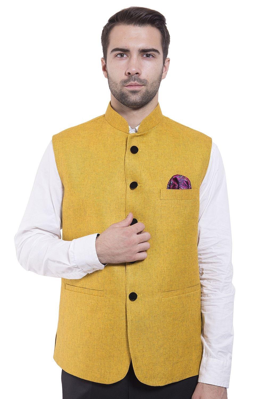 Wintage Men's Rayon Bandhgala Festive Yellow Nehru Jacket Waistcoat