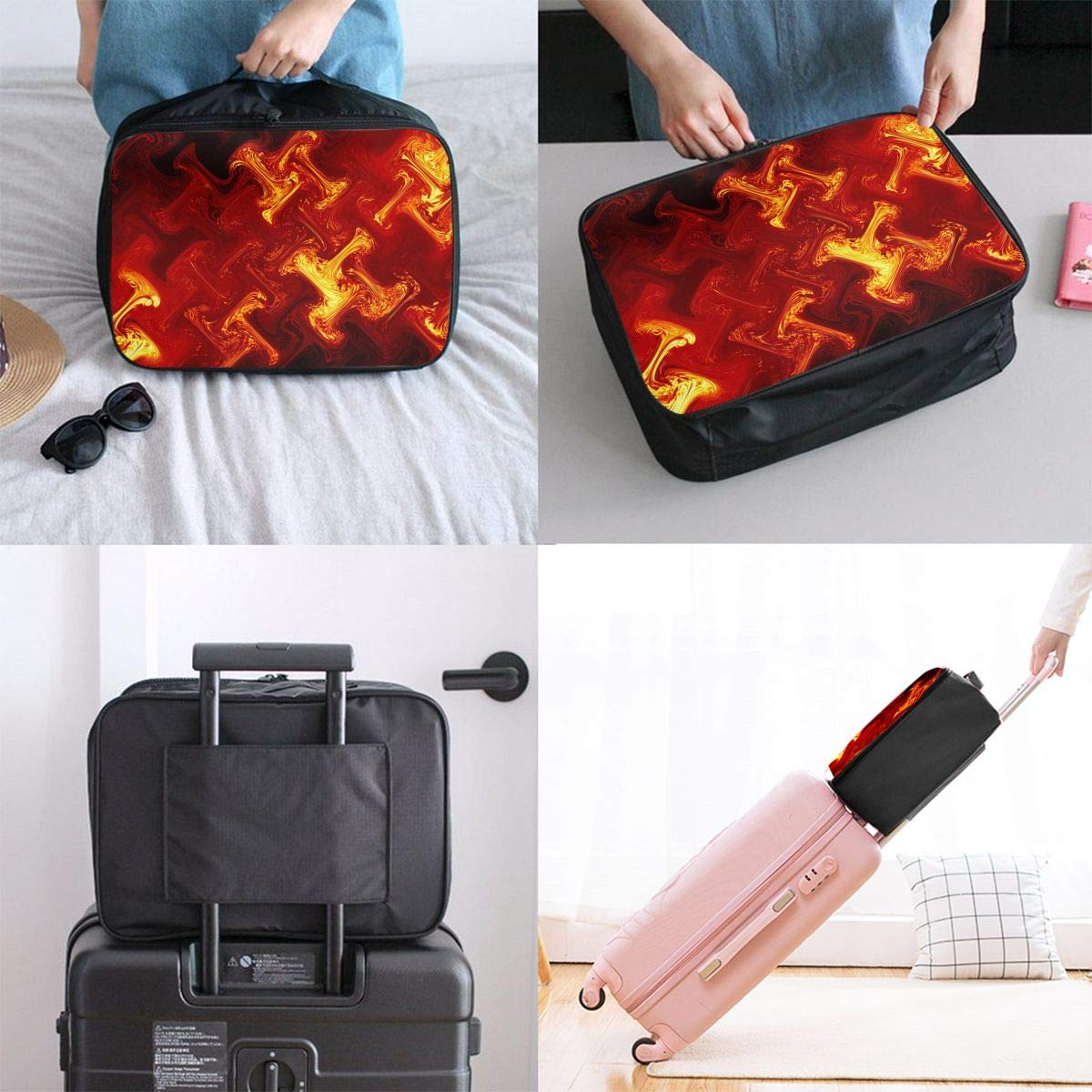 Travel Luggage Duffle Bag Lightweight Portable Handbag Fire Pattern Large Capacity Waterproof Foldable Storage Tote
