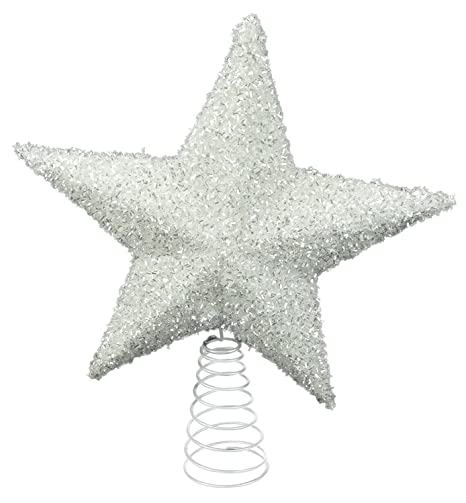 26cm Sparkly White Tree Top Star - Christmas Decorations - Christmas ...