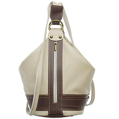 CASPAR TL721 2 in 1 Rucksack Handtasche Schultertasche Daypack aus weichem Nappa Leder, Farbe:beige;Größe:One Size CASPAR Fashion