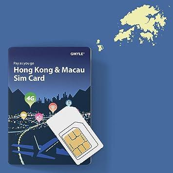 GMYLE Tarjeta SIM prepaga Hong Kong y Macao, 5 GB / 14 días ...