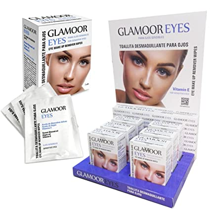 Expositor + 12 cajas x 7 toallitas desmaquillantes para ojos