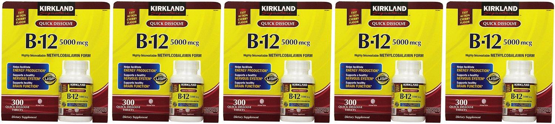 Kirkland Signature, Sublingual B-12 5000 mcg vOztM 300 Tablets (Pack of 5)