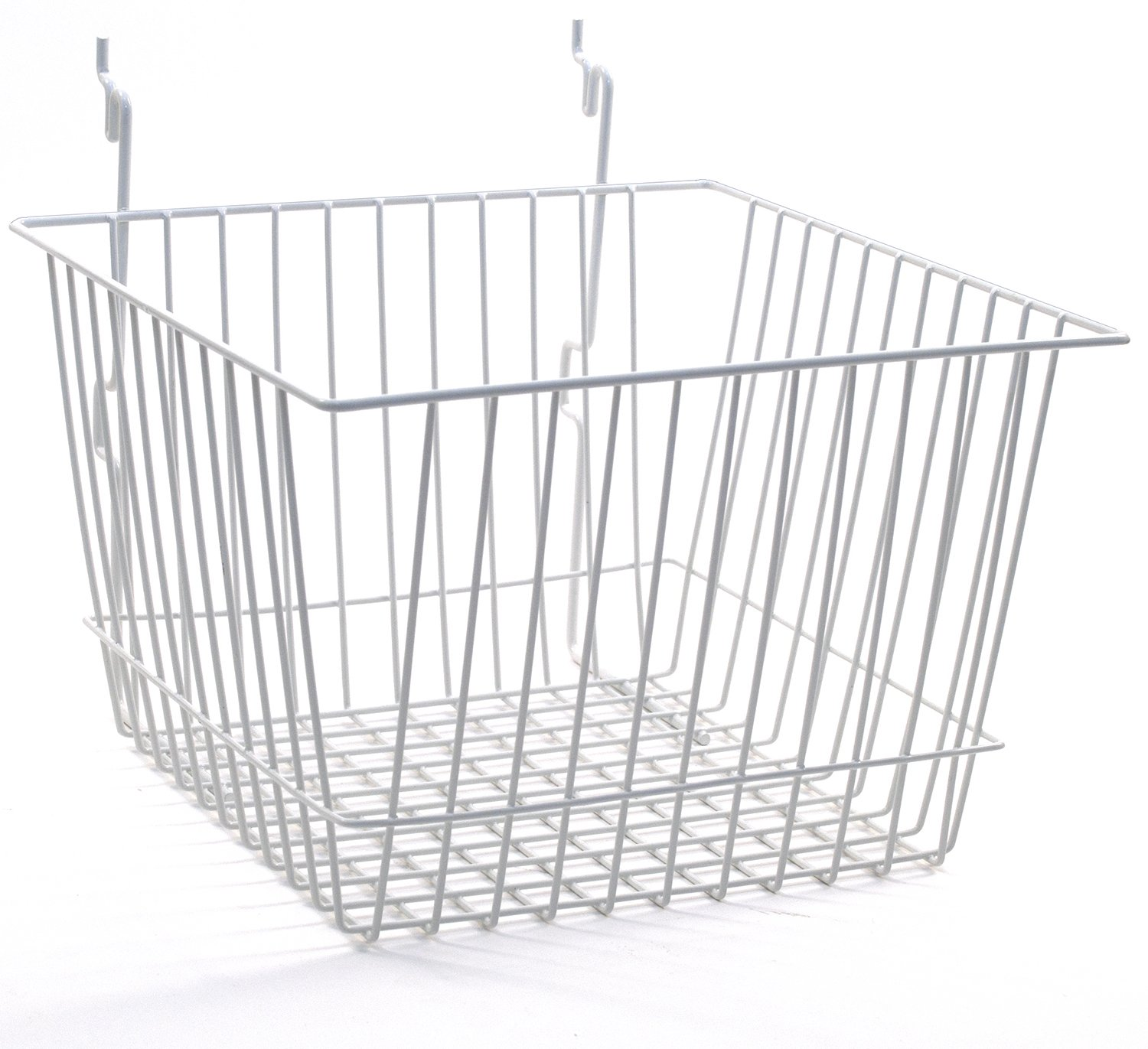 KC Store Fixtures A03008 Basket Fits Slatwall, Grid, Pegboard, 12'' W x 12'' D x 8'' H, White (Pack of 6)
