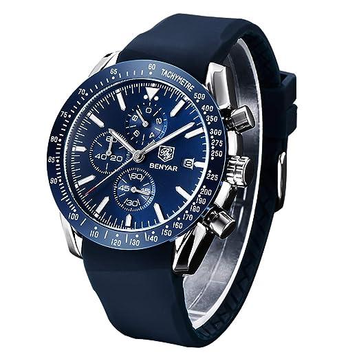 ac783ae2fc Montre chronographe pour Homme en Silicone Bracelet Cadran Bleu de Luxe  étanche Montre à Quartz analogique