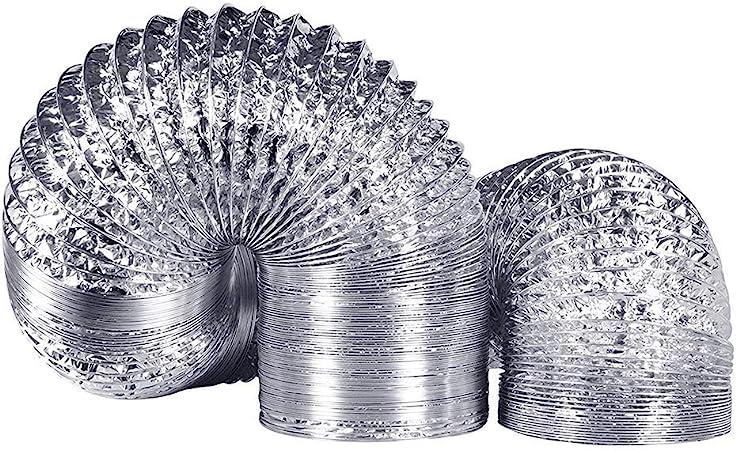 MOOUK Aluminio Tubo Kit, Aire Acondicionado Manguera,Campana Extractora,Universal Extractor Papel de Ventilación con 2 Abrazaderas para HVAC Secadora - 1PC, Tamaño Libre: Amazon.es: Hogar