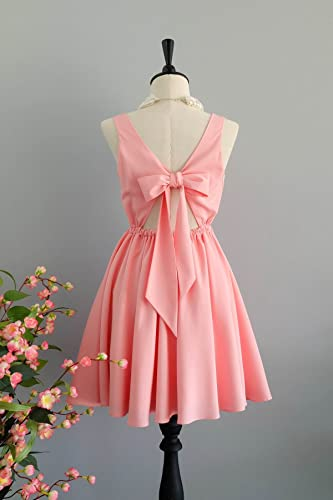 Lolita baby pink prom party bridesmaid dress vintage inspired bow back