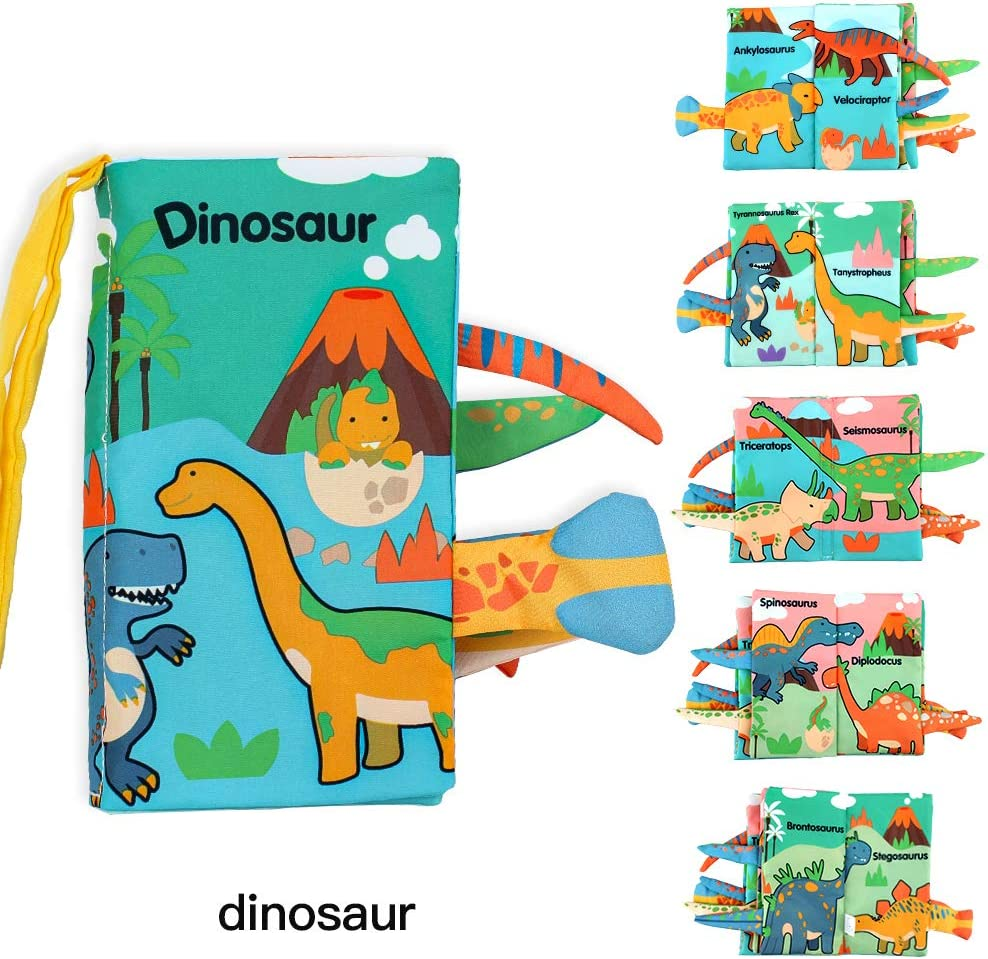 HUAILEI Baby Cloth Books,Soft Touch and Feel Crinkle Tail Books Cloth Books Set for Babies,Infants /& Toddler Early Children Development Interactive Baby Toys Gift(Dinosaur)