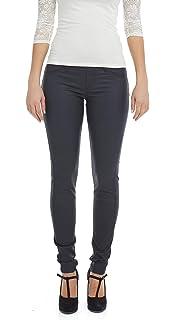 00cc05ea06f8a1 Suko Jeans Women's Wax Coated Denim Pants - Pull On Leggings - Faux Leather
