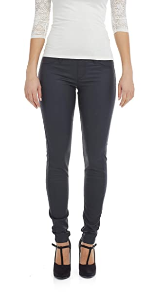 c260881003ccb Suko Jeans Women's Wax Coated Denim Pants - Pull On Leggings - Faux Leather