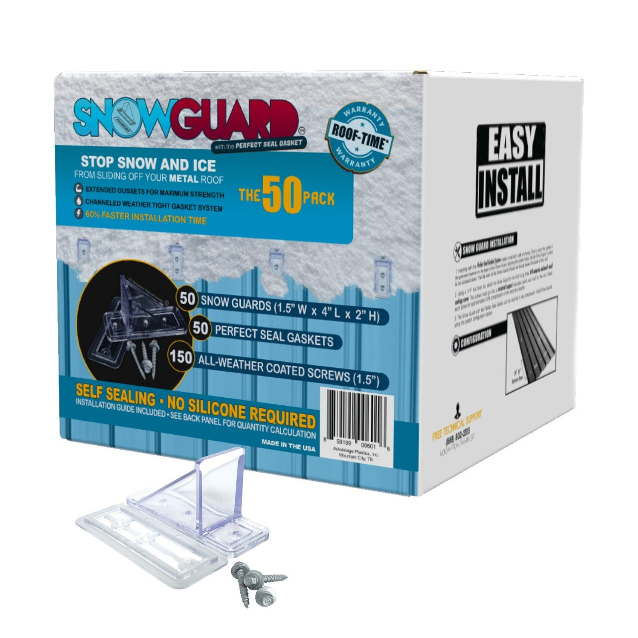 50 QTY Commercial Bulk Pack (Snow Guards, Perfect Seal Gaskets & Screws) - Stop Snow From Sliding Off Your Metal Roof Snow Guard Block Stops Breaks by SNOWGUARD WITH THE PERFECT SEAL GASKET