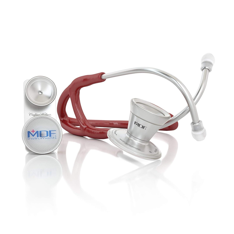 MDF ProCardial ER Premier Cardiology, MDF797DD-17 - Estetoscopio adulto-pediátrico de doble cabeza de acero inoxidable con accesorio convertible campana cardiológica adulto, Borgoña
