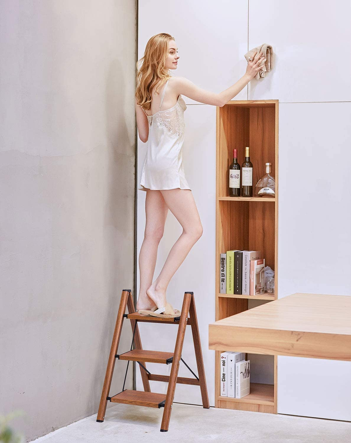 3 Step Ladder Woodgrain Shelf Aluminum Lightweight Folding with Anti-Slip and Wide Pedal for Home and Kitchen Space Saving