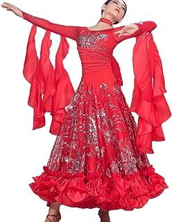 Luxueux Robe de Danse de Salon pour Femme Compétition/Performance Tulle Paillettes Brodées Moderne Valse Vêtements de Danse Grande Balançoire Rongg