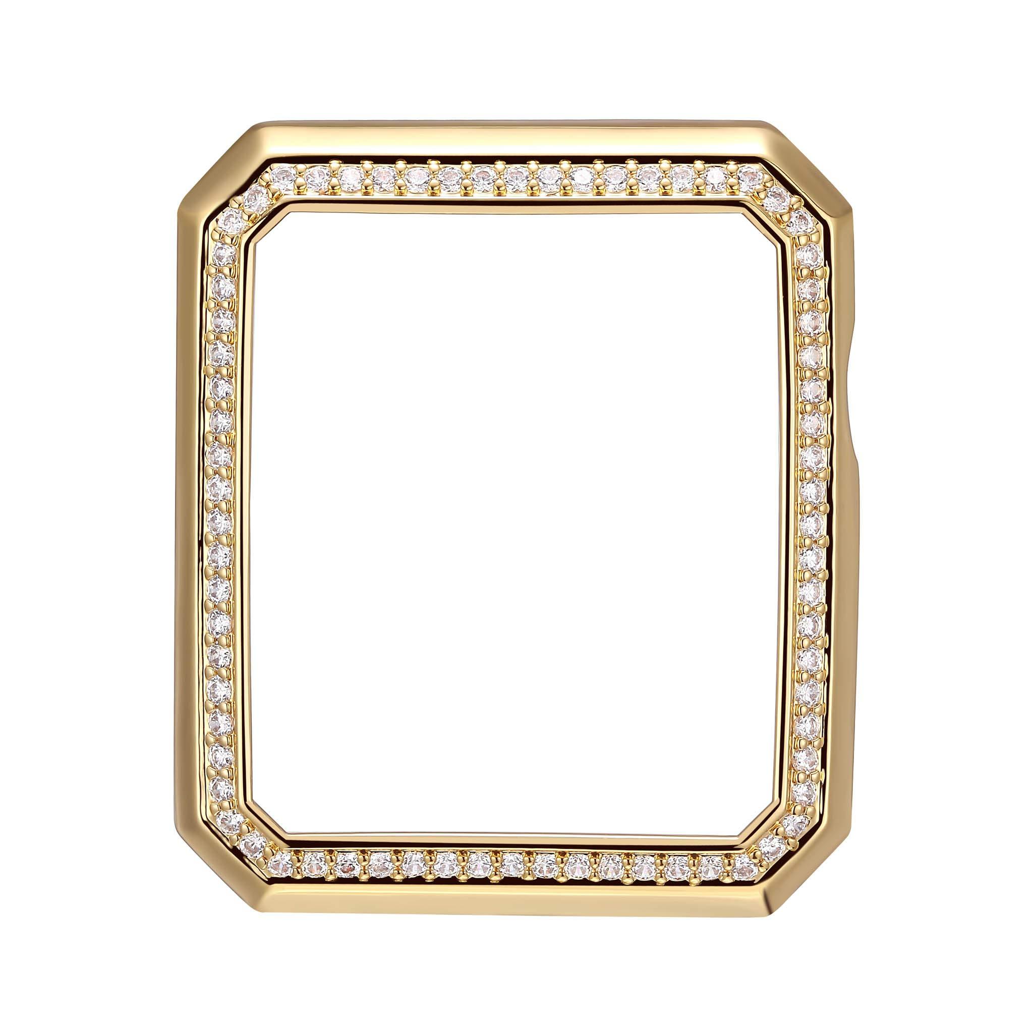 SKYB 18K Yellow Gold Plated Bronze Deco Halo Jewelry-Style Apple Watch Case with Swarovski Zirconia CZ Border - Large (Fits 42mm iWatch)